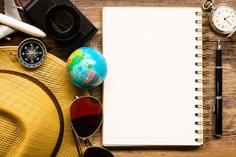 Top view of Traveler accessories, Critical Holidays List, Travel Concepts Background.