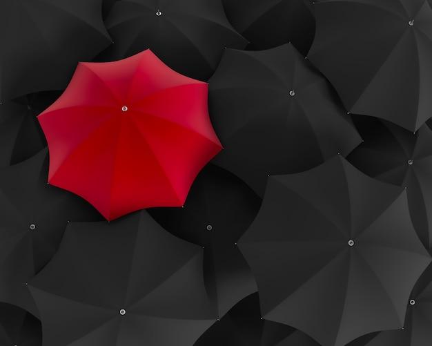 Вид сверху на уникальный красный зонтик, выделяющийся из черной толпы. 3d иллюстрация
