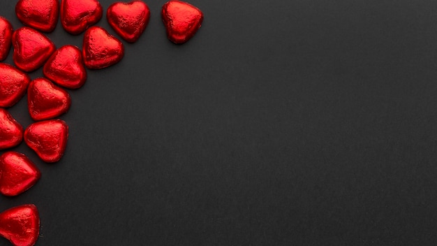 コピースペースとバレンタインデーのコンセプトの上面図