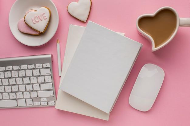 コピースペースでバレンタインデーの上面図