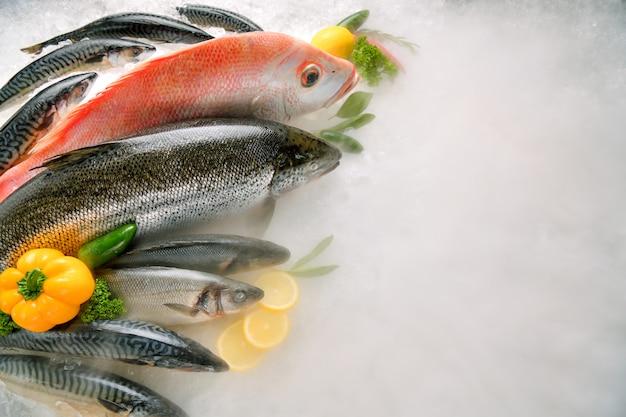 Вид сверху разнообразной свежей рыбы и морепродуктов на льду с дымом из сухого льда и копией пространства