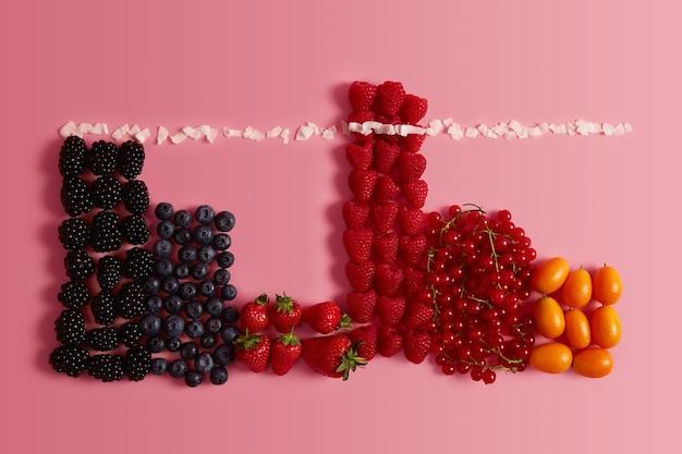 さまざまな熟したおいしい夏の果物の上面図。健康的な新鮮なベリー。ピンクの背景にブルーベリー、ブラックベリー、ストロベリー、レッドカラント、キンカン。有機食品、ダイエット、栄養の概念