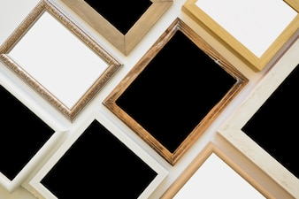 Top view of various picture frame on background
