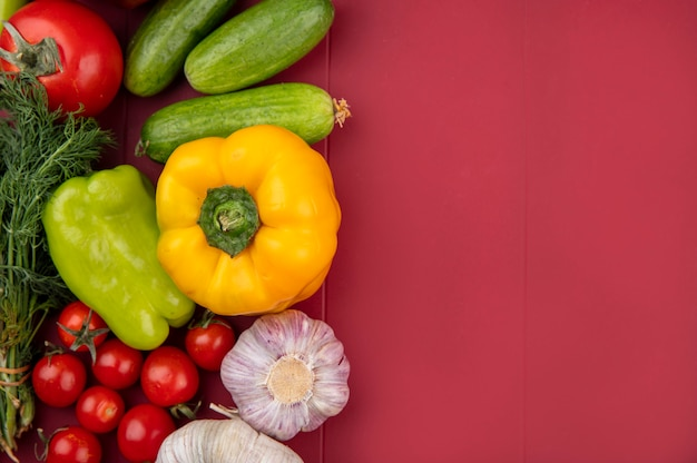 赤い表面にキュウリトマトコリアンダーペッパーとニンニクとして野菜のトップビュー