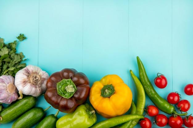 Вид сверху овощей как помидор огурец перец перец чеснок и кориандр на синей поверхности