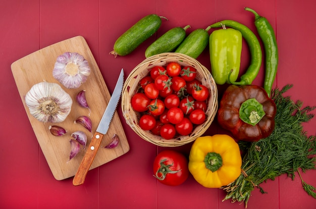 빨간색 표면에 커팅 보드에 칼 바구니 오이 고추 딜과 마늘에 토마토로 야채의 상위 뷰