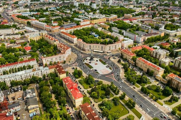 ミンスクの勝利広場の平面図。ミンスクの街と勝利広場の鳥瞰図。ベラルーシ。