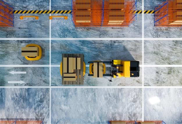 Вид сверху склада с работающим agv и роботом подъемного транспортного средства, рендеринг 3d-иллюстрации