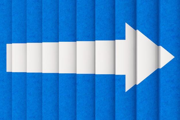 Вид сверху белой стрелки на синей ступеньке лестницы до крайнего крупного плана. 3d рендеринг