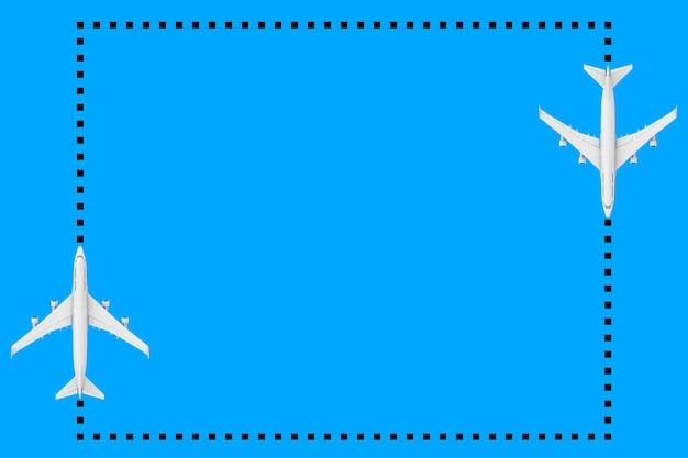 파란색 배경에 디자인을 위한 빈 공간이 있는 도트 프레임으로 흰색 제트 여객기의 평면도. 3d 렌더링