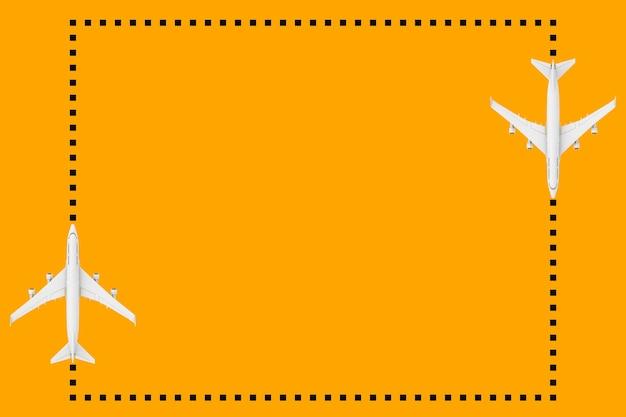 주황색 배경에 디자인을 위한 빈 공간이 있는 도트 프레임으로 흰색 제트 여객기의 평면도. 3d 렌더링
