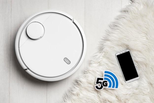 스마트 폰으로 wi-fi 제어 진공 청소기의 상위 뷰