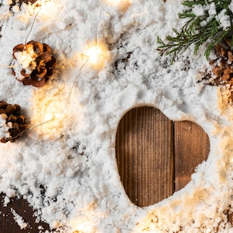 Вид сверху концепции зимнего снега