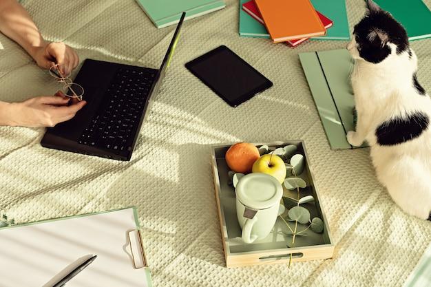 Вид сверху женщины, работающей в неформальной обстановке со своим ноутбуком, блокнотом, чашкой чая. удаленная работа, домашний офис, фрилансер, концепция самоизоляции