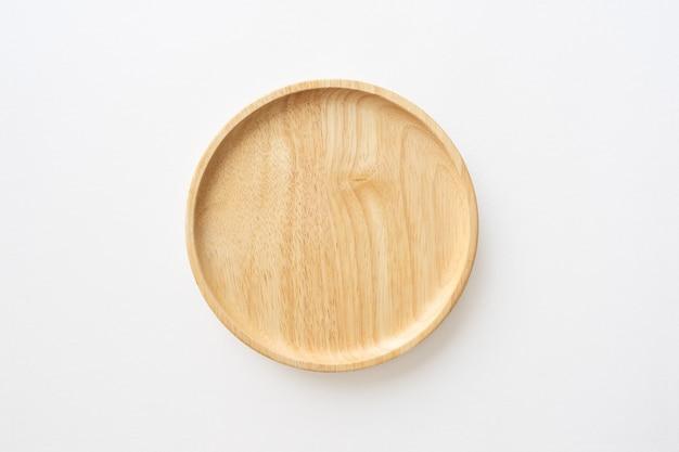 Вид сверху деревянное блюдо