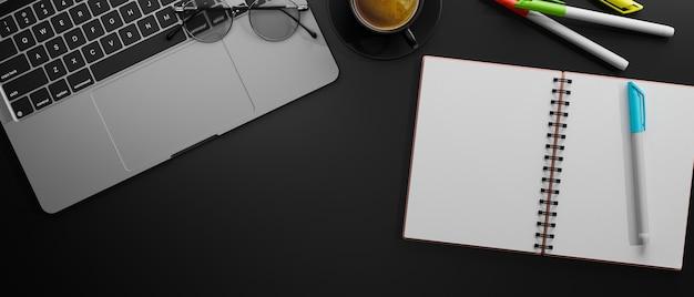 Вид сверху рабочей области с ручками для ноутбука и очками на черном столе 3d-рендеринг 3d-иллюстрации