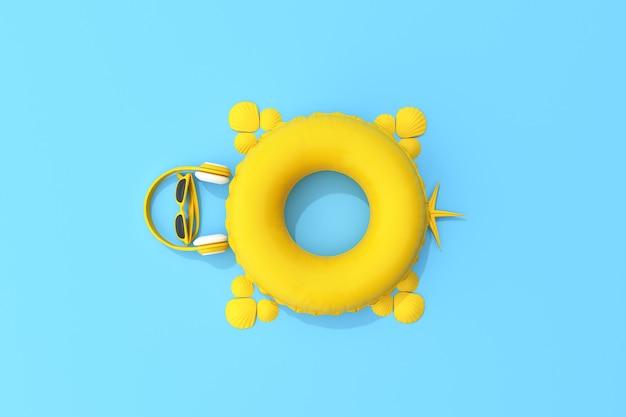 黄色の夏のビーチのコンセプトの平面図です。夏のアクセサリー、ヘッドフォン、サングラス、ヒトデ、貝殻、亀の形をしたインフレータブルリング。 3dレンダリング。
