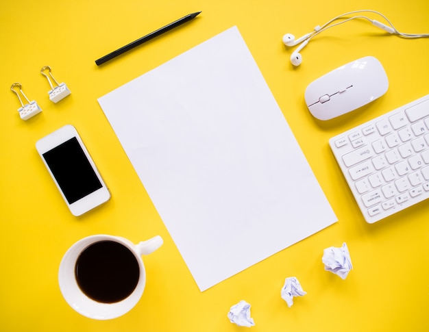 Top view, office desk and office tools with copy space.