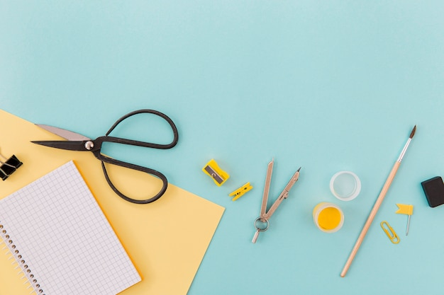 Top view office scissors with copy space