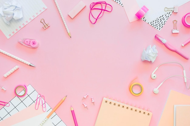 Top view of office stationery with pencils and copy space
