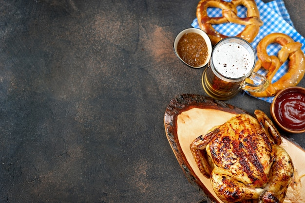 Top view of oktoberfest food on rustic background