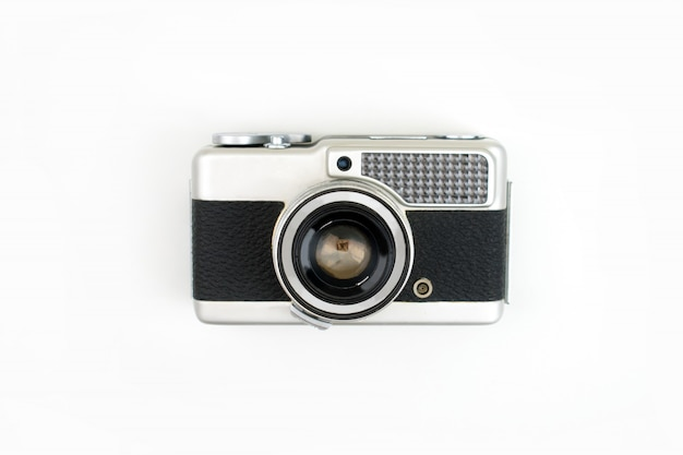 Top view, old film camera isolated
