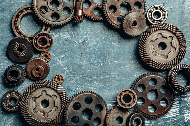 Top view of old rusty car parts
