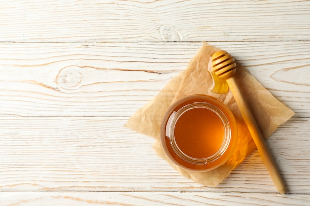 꿀, 국자의 유리 항아리에 상위 뷰