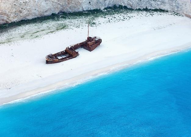 Navagio 베이에서 최고의 볼 수 있습니다. 여름 해안선보기 그리스, zakynthos, 이오니아 해.