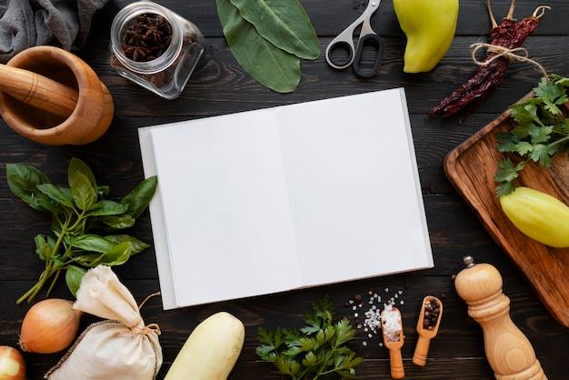 Вид сверху на концепцию натюрморта книги рецептов