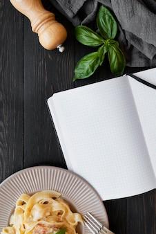 レシピ本の静物の概念の上面図