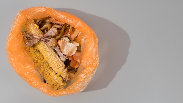 Вид сверху на концепцию приготовления мусора Бесплатные Фотографии