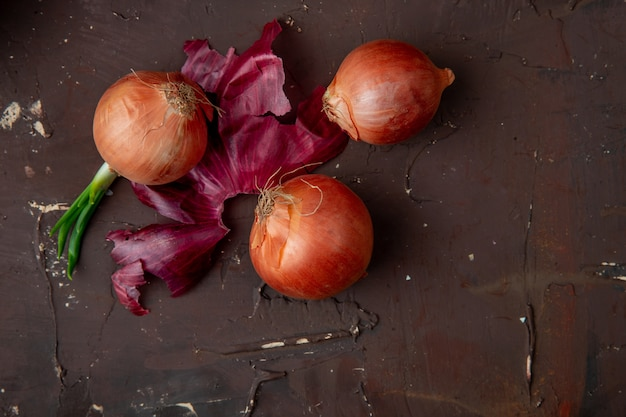 Top view of onions and onion shell on maroon background with copy space