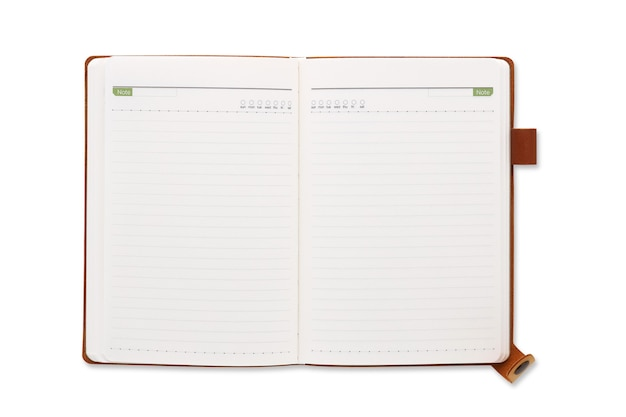 Top view open brown leather notebook or diary isolated and white background with clipping path