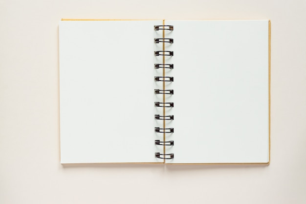 Top view of open empty notebook from recycled paper