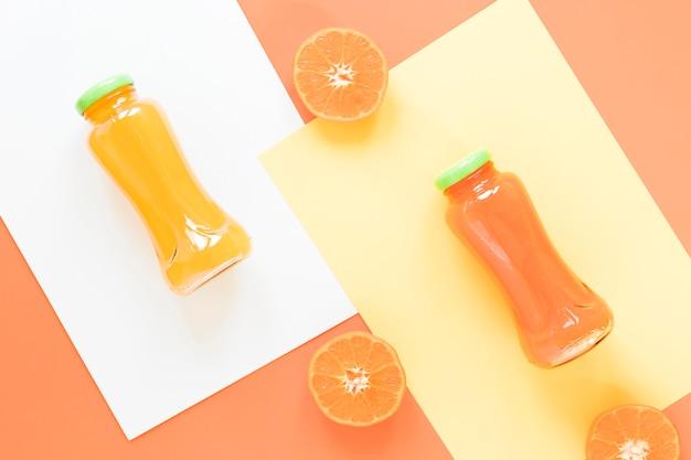Top view orange and grapefruit smoothie