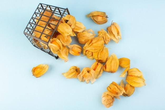 Un'arancia sbucciata di vista superiore physalises sulla foto arancione di colore della frutta della tavola blu