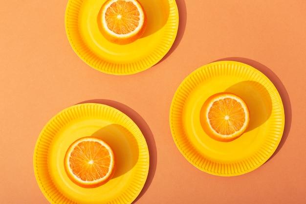 상위 뷰 오렌지 배열