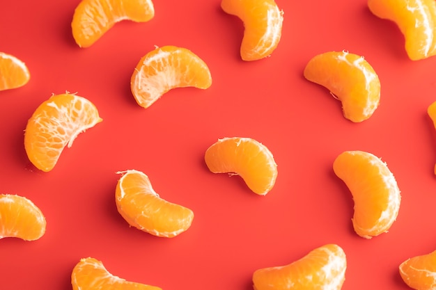 Top view of oranges slices