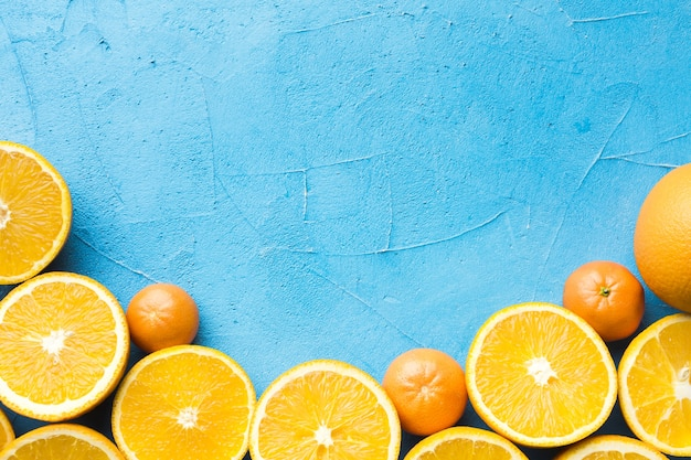 Top view of oranges with copy space