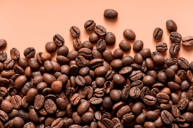 Vista dall'alto chicchi di caffè biologici