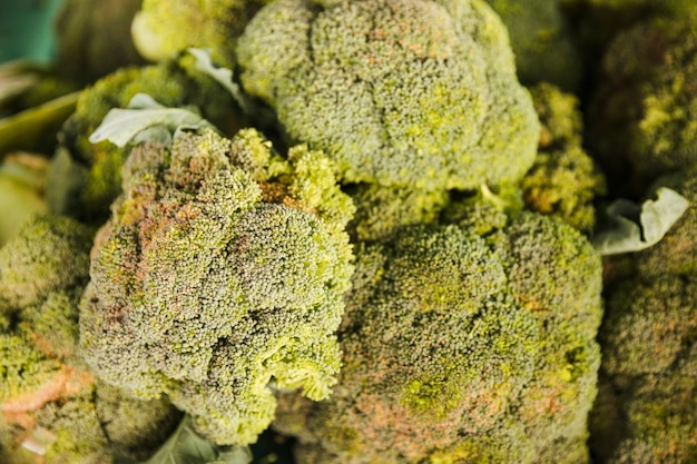 Top view of organic fresh broccoli in supermarket