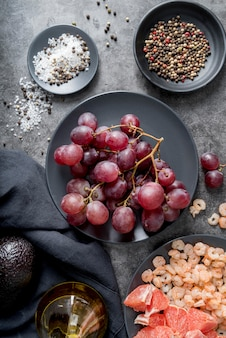 Top view organic grapes on plate