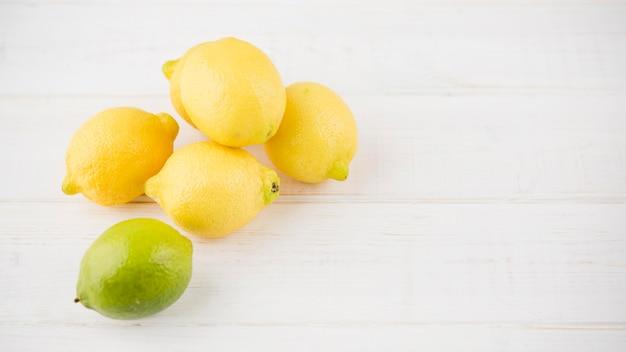 Top view organic lemons on the table