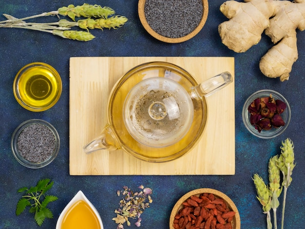 Top view of organic medicinal spices and herbs