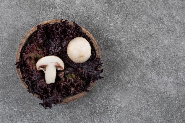 Vista dall'alto di funghi biologici