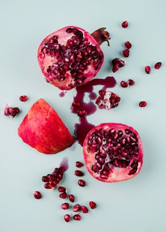 Top view organic pomegranate on the table
