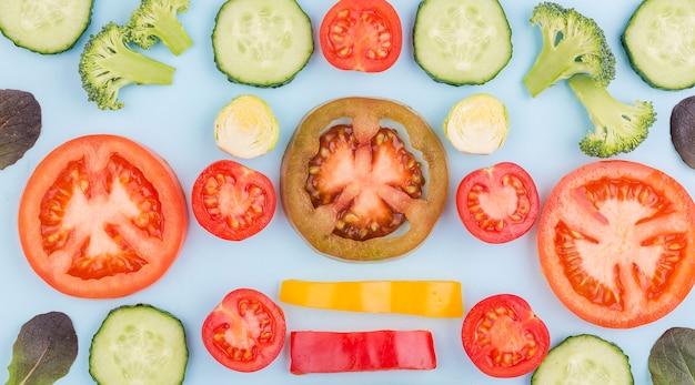 トップビューの野菜の有機選択