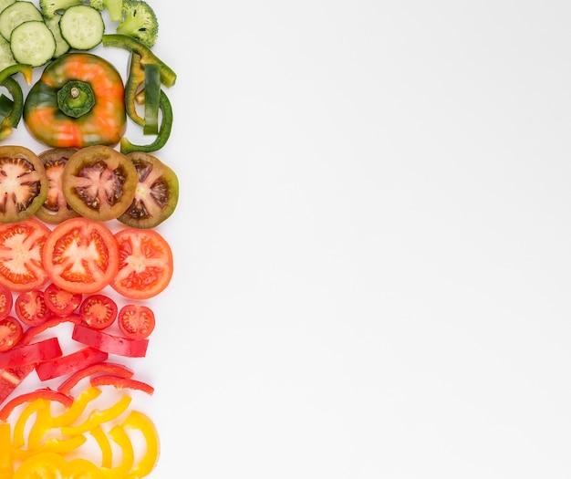 コピースペースを持つトップビュー有機野菜