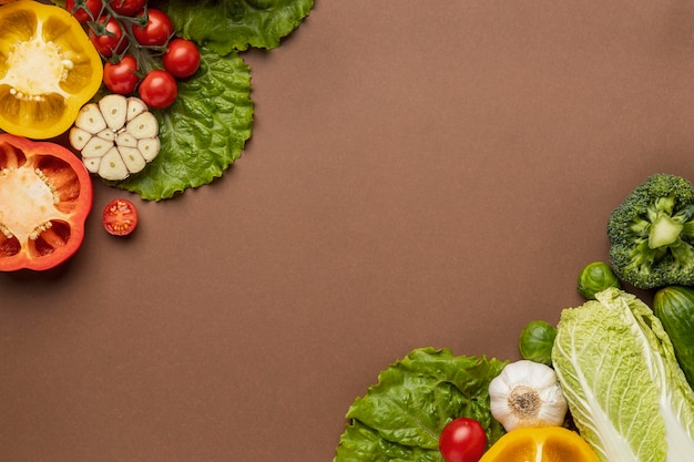 Top view of organic vegetables with copy space
